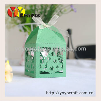 christmas decoration favors box green laser cut decorative christmas gift craft boxes