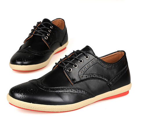 mode 2015 hommes chaussures en cuir casual lacets marron. Black Bedroom Furniture Sets. Home Design Ideas