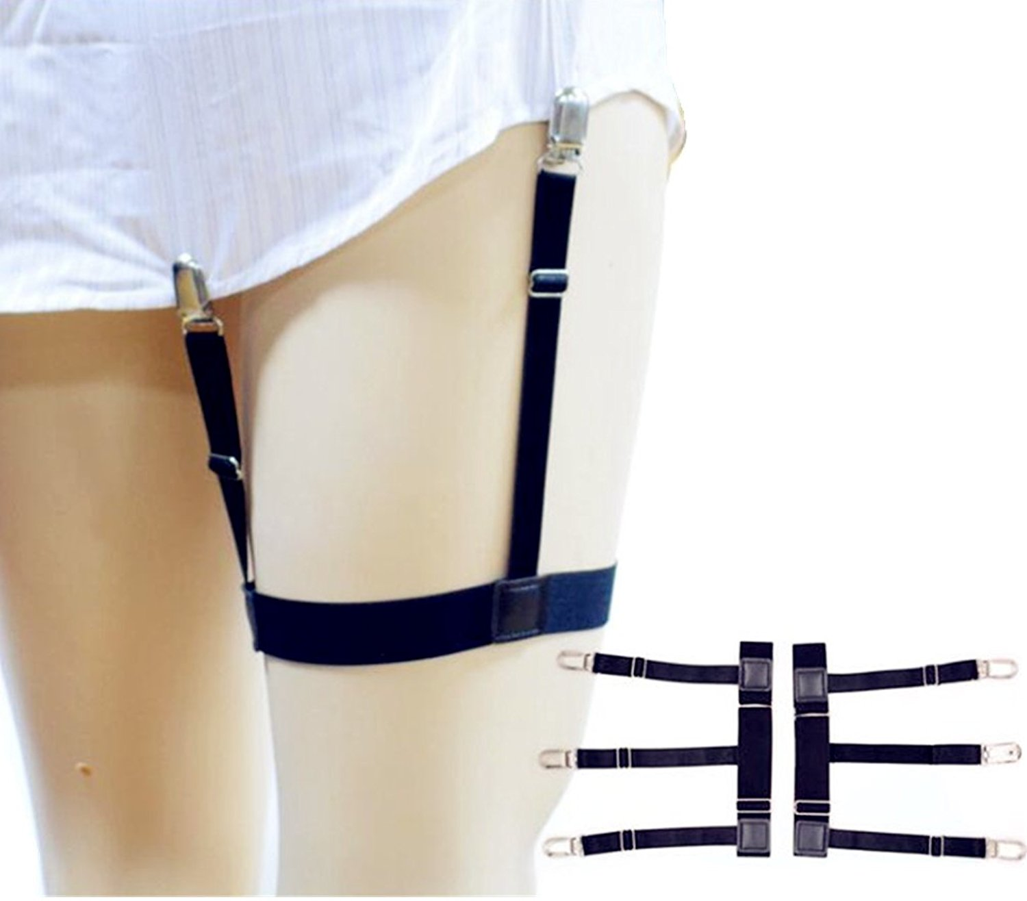 f88aa958ca7 Get Quotations · Mens Shirt Stays Garters Suspenders Shirt Holder Elastic Adjustable  Belts Straps Non-Slip Locking Clamps