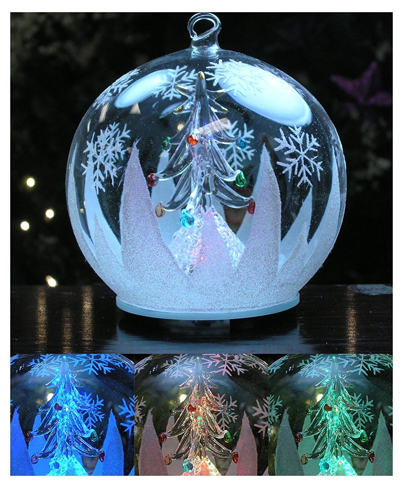 led glass globe christmas tree ornament with tree inside color changing lights clear glass