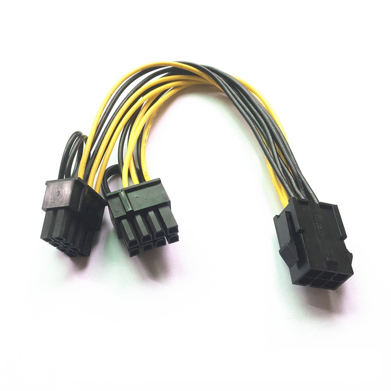 PCI-E 6 pin Male to Dual Male PCIE 8pin 6+2pin Graphics Video Card Power Cable