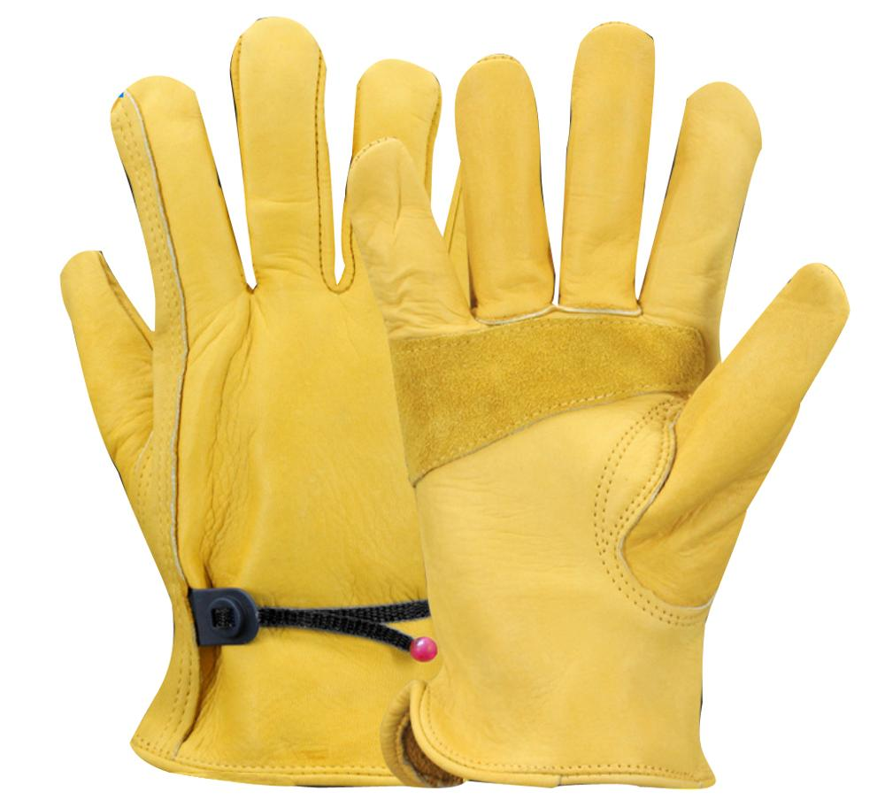 China Premium Heavy Duty Reinforced Palm Anti Slip Cut Resistant Cowhide Leather Protective Safety Working <strong>Gloves</strong>