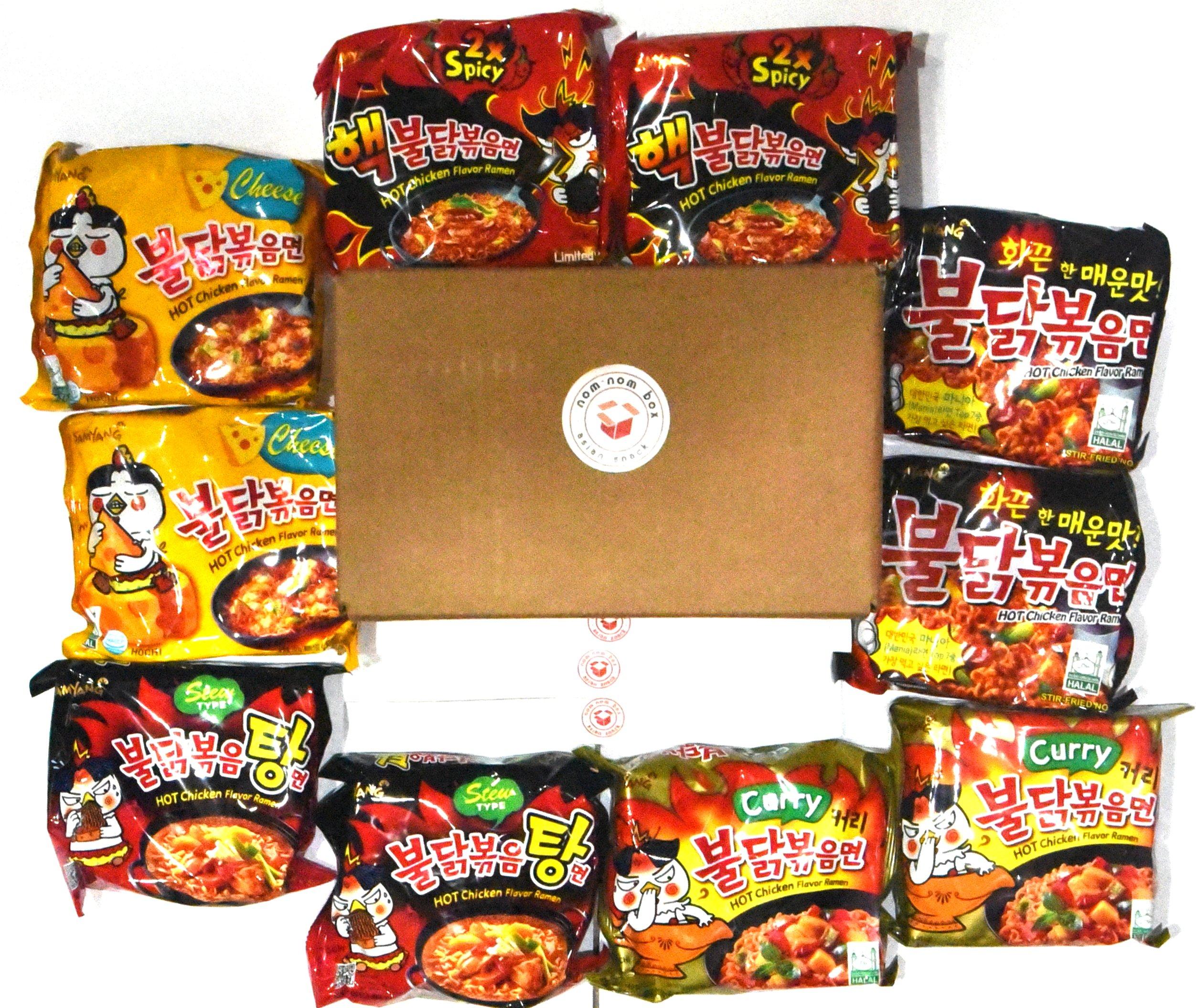 Samyang Ramen Spicy Hot Chicken Roasted Noodles Variety (10-Pack) | Hek Nuclear, Original, Cheese, Curry, Stew | & Nom Nom Box Chopsticks (10 Count)