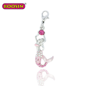 Colorful crystal jewelry silver enamel beautiful pink charm of the little mermaid