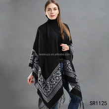 wholesale girls fashion tassel poncho wraps black classic kashmir wool shawl scarf