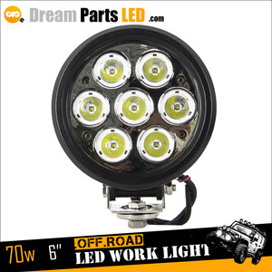 24v led machine work light 70w round led work light 9-60v auto lamp for truck jeep offroad 4x4 tracktors with flood or spot beam