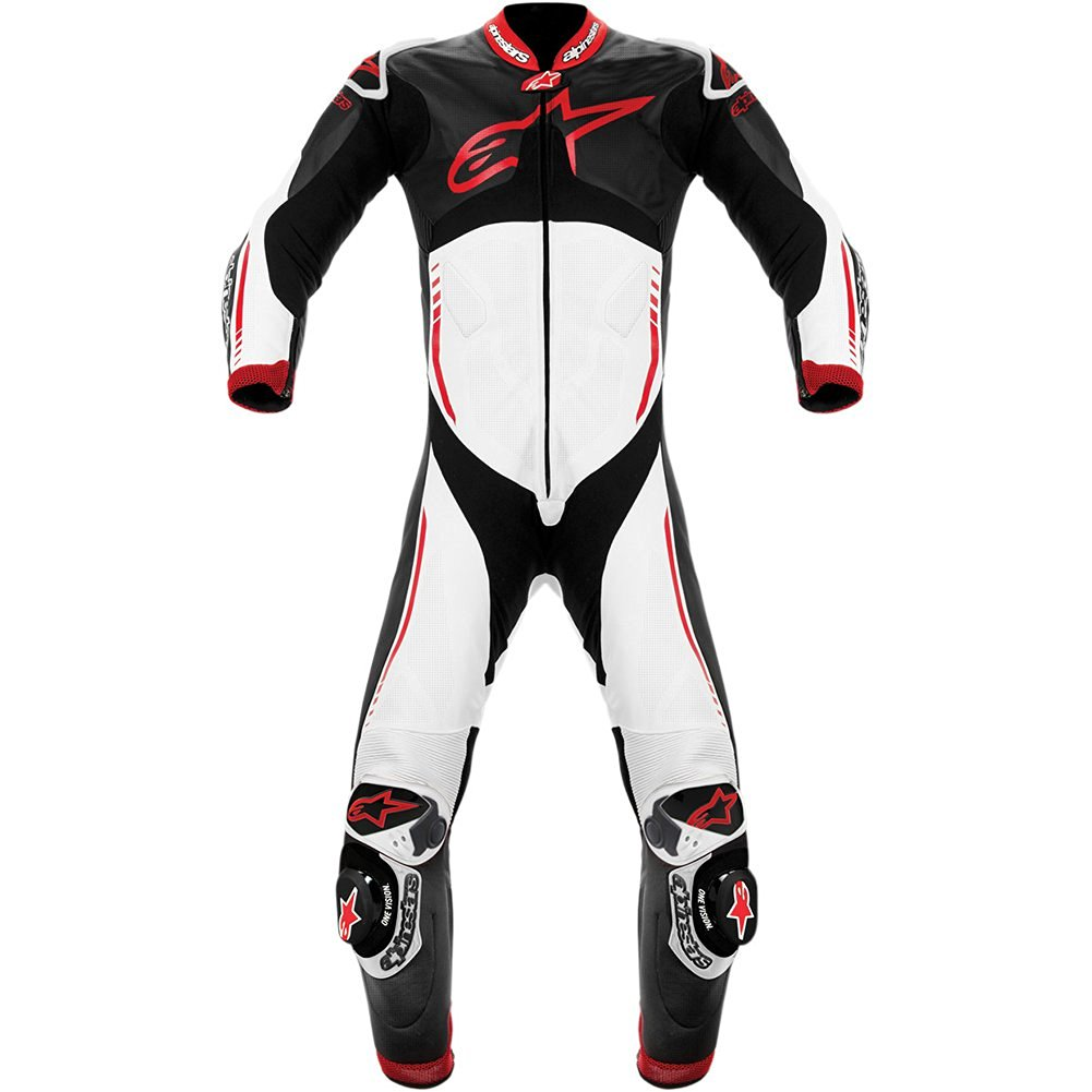 Alpinestars Atem Men's 1-Piece Leather On-Road Motorcycle Race Suits - Black/White/Red / Size 58