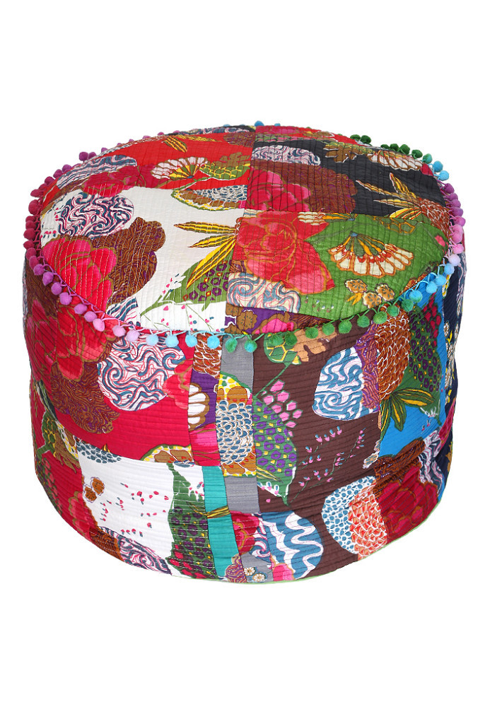 2014 New Design Otoman, Designer Ottoman, Indian Machine Quilted Ottoman Pouf