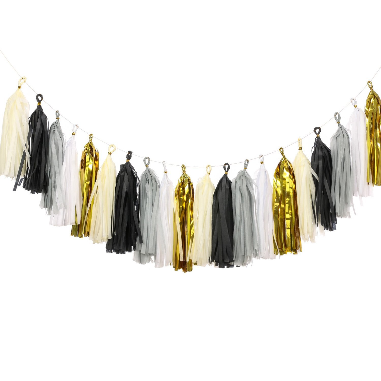 Ling's moment 20pcs Tassel Banner Tissue Paper Tassels, Fiesta Fringe Garland, Black & Gold Garland for Graduation Wedding Birthday Party& Event DIY Kits - (Metallic Gold+Black+White+Gray+Ivory)