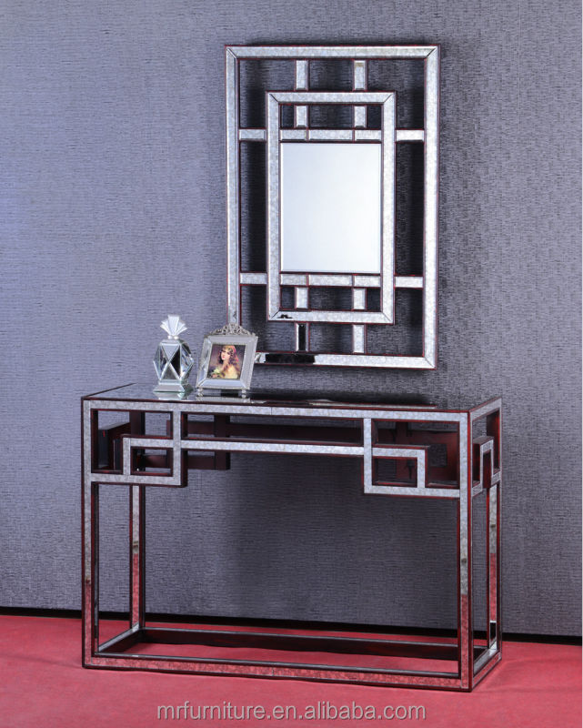 MR-4T0117 Antique mirrored console with wall mirror