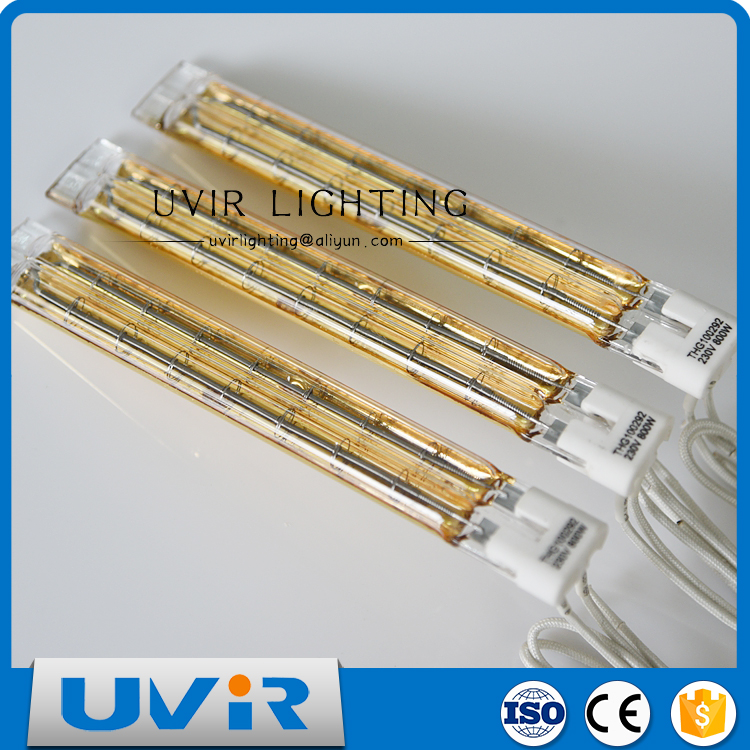 Tubular quartz glass infrared heat lamp 230 V with gold reflector