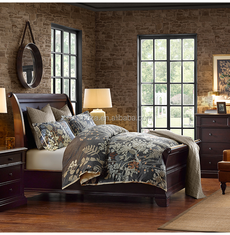 F40060A-1 Antique solid home furniture sleigh double bed design for sale