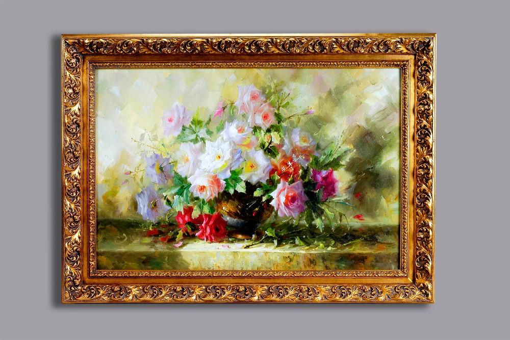 60102 Antique Frame For Handmade Flower Oil Painting On Canvas - Buy ...