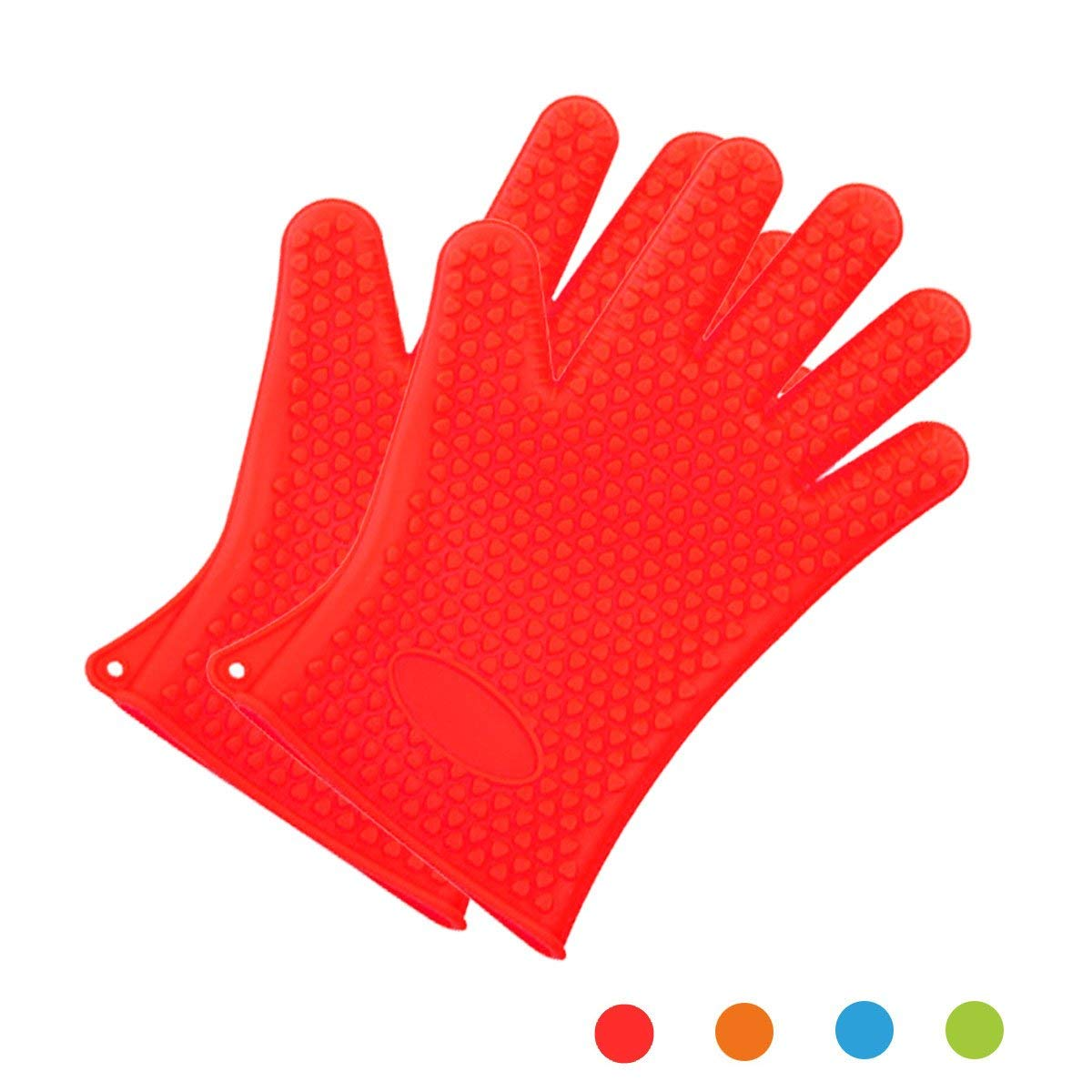ANPI Silicone Cooking & Grilling Gloves - Heat Resistant Oven Mitt for Grilling, BBQ, Baking –Versatile Non-Slip Potholders - Insulated & Waterproof - Full Finger, Hand, Wrist Protection Red