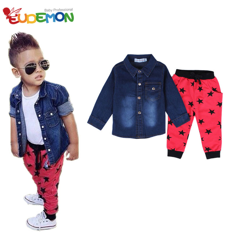 [Eudemon] Fashion 2016 boys sets White t-shirt boys AND Jeans Coat and Star Harem pants New Arrival kids clothes boys clothes