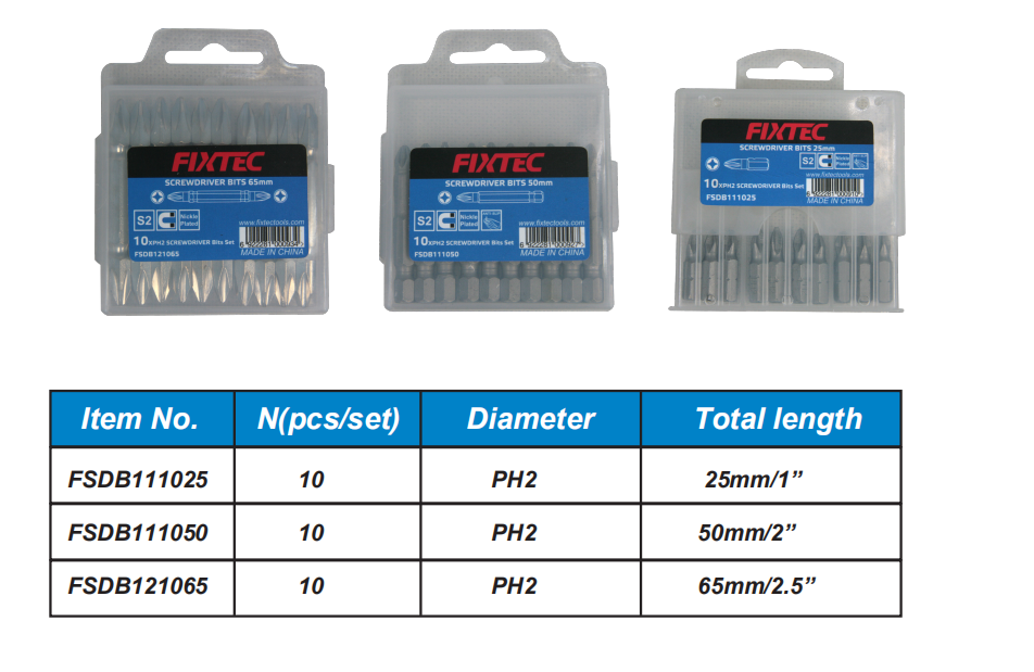 FIXTEC  PH2 High Hardness Screwdriver bits with magnetic
