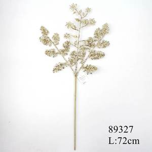 28 inch glitter gold snowflake and fern Christmas floral spray wholesale #89327