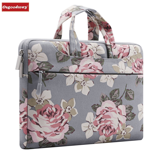 Osgoodway High Quality Fashion Waterproof Slim Canvas Fabric Rose Pattern Luxury Floral Laptop Case Bag for Ladies