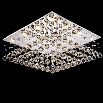 Modern Square Rain Drop Clear Led K9 Crystal Chandelier