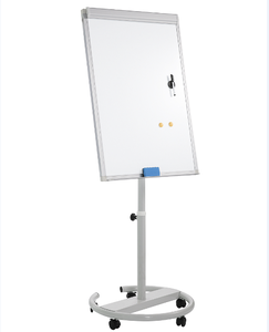 Magnetic Mobile Whiteboard/Height Adjustable Round Dry Erase Board Easel on Wheels,w/Flipchart Pad, Magnets & Eraser