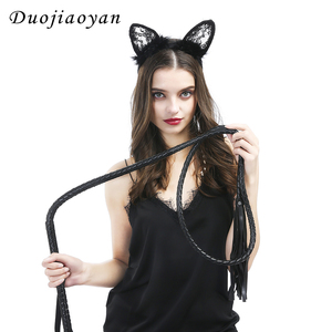 Wholesale Adult Flirting Knout Leather Tools Set Custom Long Length PU Leather Weave Whip And Lace animal Headband Set