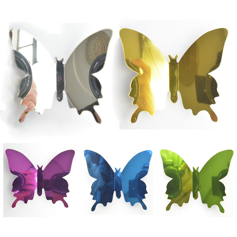12 unids/set mariposas reflectante para mascotas, espejo de la pared etiqueta de la pared decoración arte auto-adhesivo 3D mariposa pegatinas Pared de espejo