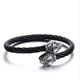 Men Stainless Steel Snake Head Wire Cuff Bangle CZ Diamond