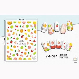 CA061-070 new korean 3d nail sticker fruit drink anchor unicorn garland design nail sticker decoration for nail art salon DIY