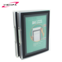 Eco-friendly plastic material A3/A4/A5 size pp/pvc ring binder with Transparent glossy surface