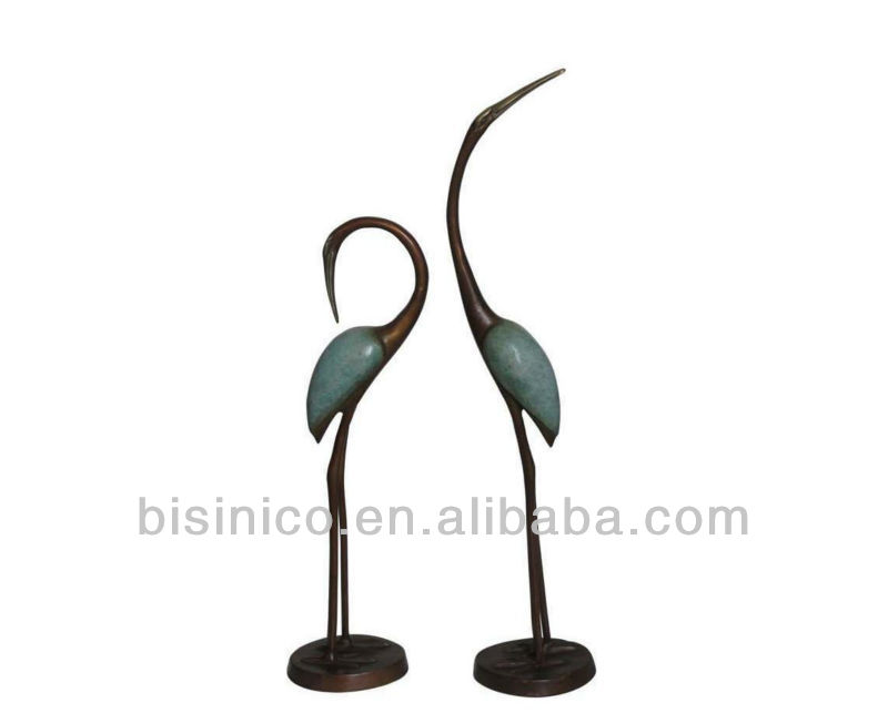 bronze contemporain grue sculpture statue jardin couple. Black Bedroom Furniture Sets. Home Design Ideas