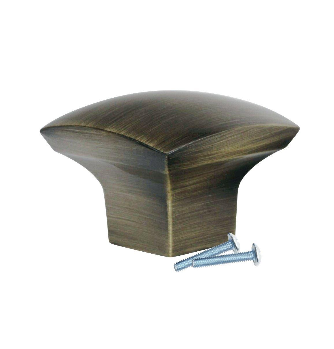 "2 Pack Rok Hardware Zen Dynasty Square Style Metal Rustic Brass 1-7/32"" Decorative Kitchen Vanity Dresser Cabinet Drawer Door Knob K341831RB"