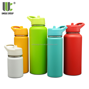 New Straw Lid 1000ml Double Wall Insulated Outdoor Stainless Steel Water Bottle