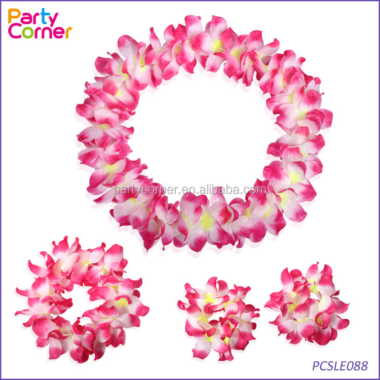 Hula Hawaiian Set Flower Garland Lei Hen Party Fancy Dress Accessory