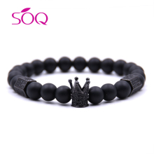 New 2018 Black Crown Natural Stone Beaded Tiger Eye Bead Bracelet For Women Men