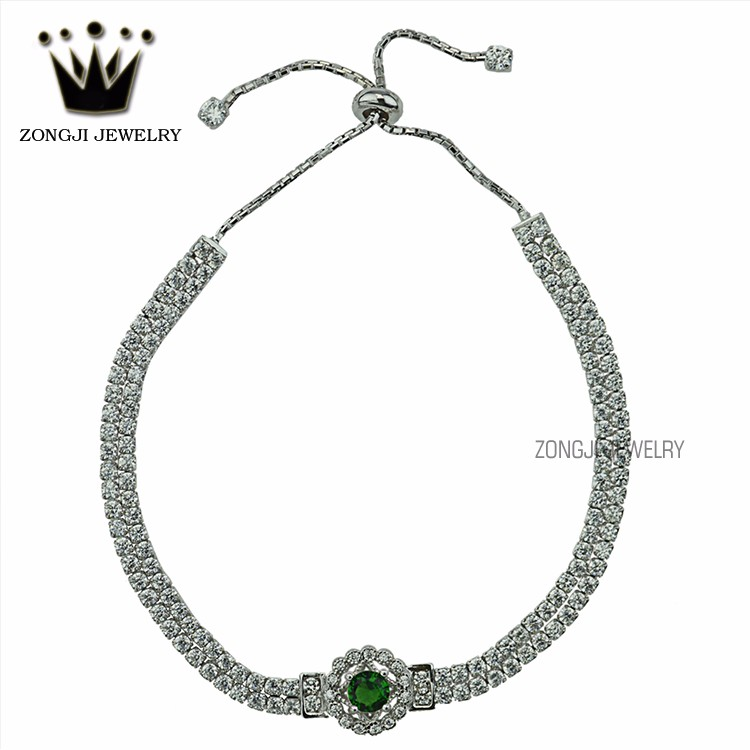 Superior Quality Of 925 Silver Jewellery White Gold Bracelet With Small Emerald For Women Accessory