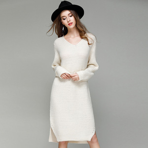 high quality cheap sweater dresses long sleeve guangzhou china women clothing manufacturer ladies winter garments wool skirt