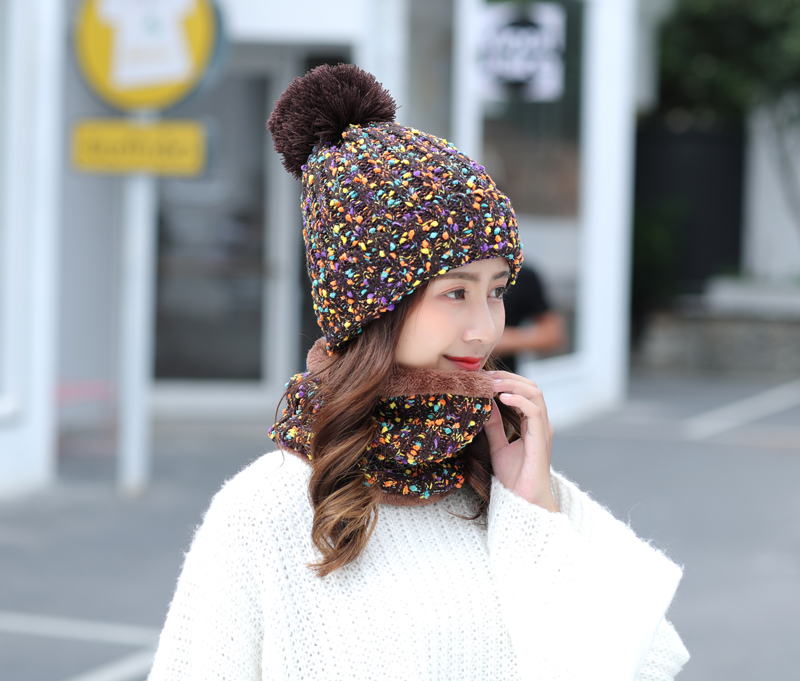 Custom Matching Ribbed Winter Warm Cable Knit Infinity Ladies Scarf Set Knitted Womens Winter Beanie Hat Set