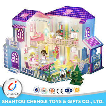 Big Building Block Set Educational Kids Doll House With Light Buy