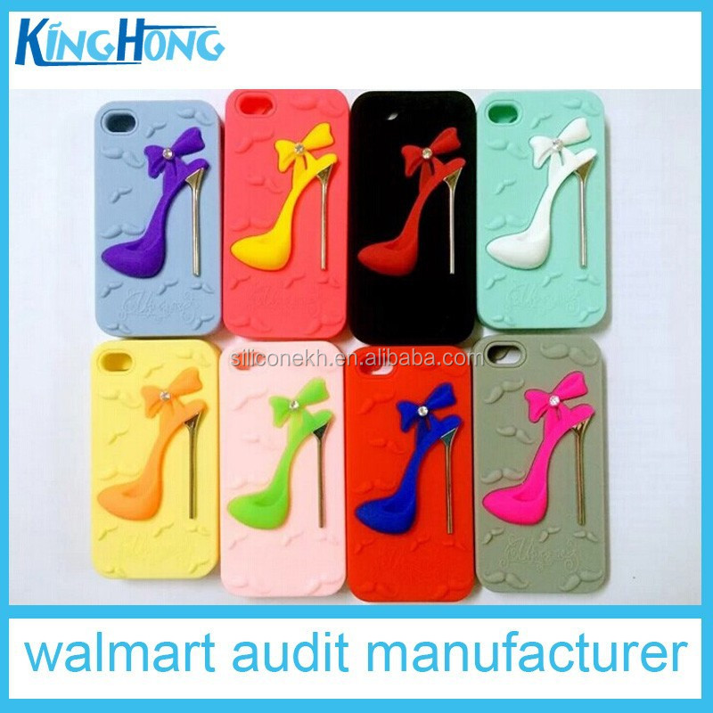 wholsale Vogue high-heeled shoes silicone mobile phone accessos protective case for Iphone6rie