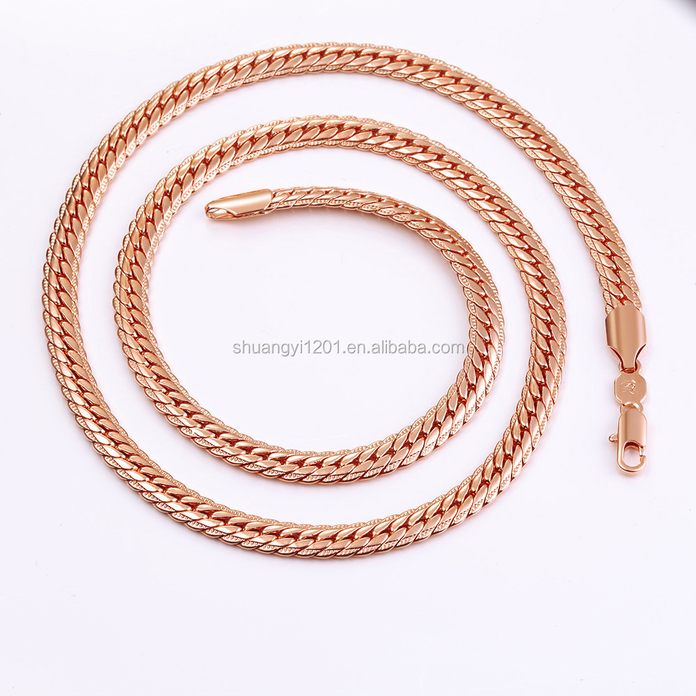 Yiwu Factory S-Yin Jewelery Stainless Steel Rose Gold Flat Snake Chain Men Women Necklaces
