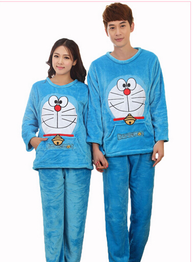 get quotations hot sale autumn winter couple flannel pokonyan pajamas set cartoon cat women men long sleeve