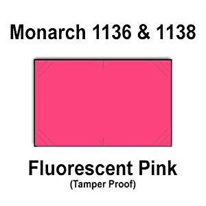 112,000 Monarch 1136/1138 compatible Fluorescent PInk General Purpose Labels to fit the Monarch 1136, Monarch 1138 Price Guns. Full Case + includes 8 ink rollers.