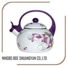 2.2L Round Tea Kettle/Nice Decal Enamel Whistling Kettle With Plastic Handle