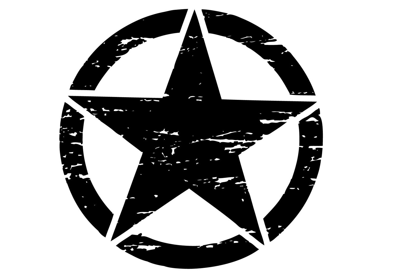 """The Pixel Hut gs00088 6"""" Matt Black Distressed Army Military Star Hood Decal for Jeep Wrangler"""