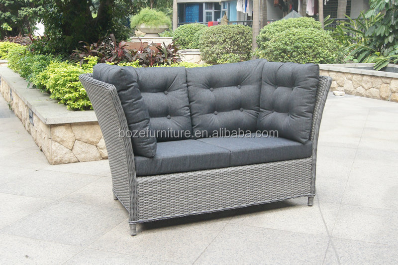 French Grey Rattan Outdoor Loveseat High Back Sofa - Buy High Back  Sofa,Outdoor Loveseat,Rattan Loveseat Sofa Product on Alibaba.com