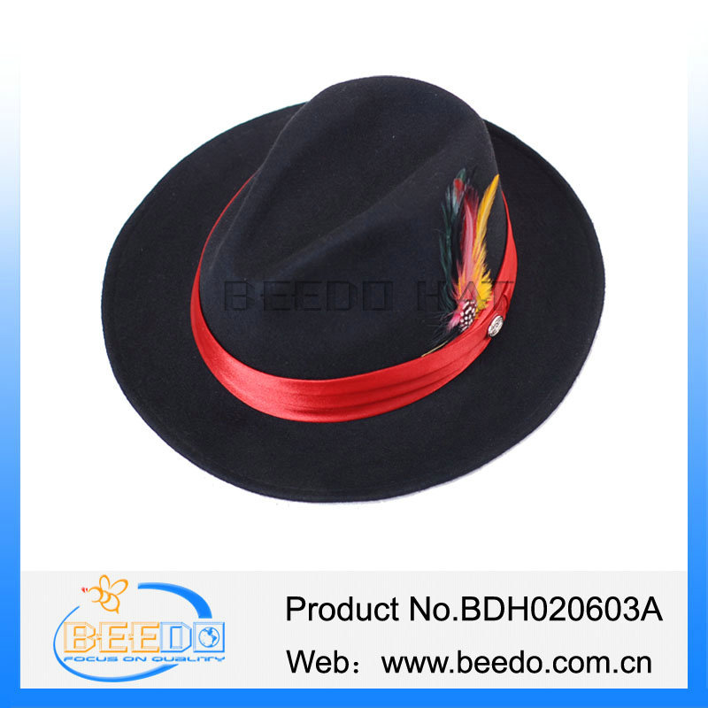 2e22059f Best Selling Black With Red Band Fedora Hat - Buy Fedora Hat,Black ...
