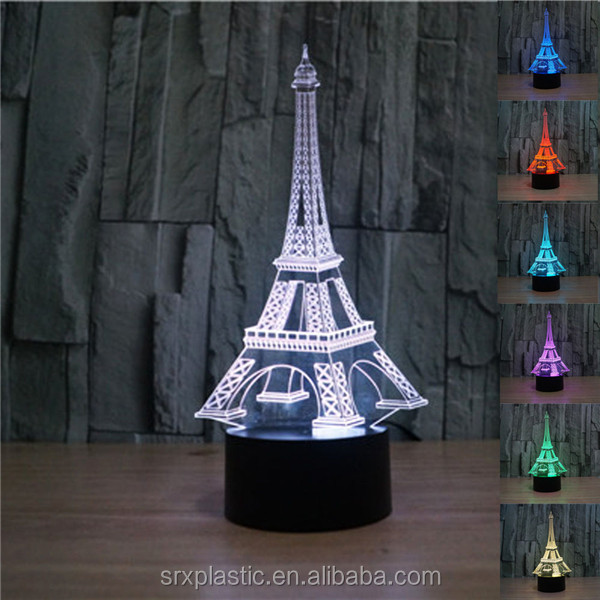 Decorative 3d Afile Tower led lamp Innovate 3D led decoration light made in China