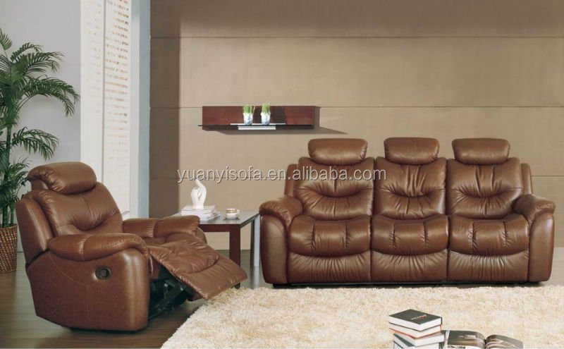 Comfortable and Leather lounge suite 3+2+1 YR2785 modern reclining leather sofa