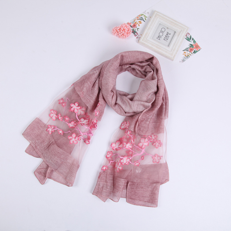 High Quality Fashion Women Latest Long Custom Made Embroidered Silk Scarf