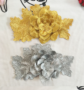 Custom hand-made 3D gold and silver peony embroidered patches for clothes, embroidery for dress